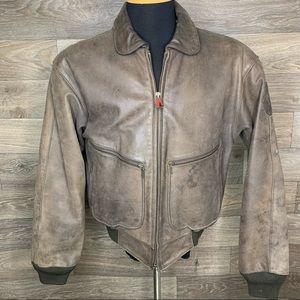 Vintage Hein Gericke Brown Leather Moto Jacket
